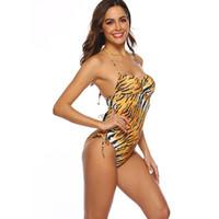 um pedaço swimsuit tigre venda por atacado-Swimwear das mulheres Sexy Swimwear One-Piece Tiger Padrão Biquíni Swimsuit uma cor 1 pçs / lote transporte da gota