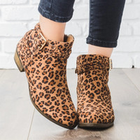 leopar pantolon toptan satış-WENYUJH Kadın Ayakkabı Leopar Retro Yüksek Topuk Ayak Bileği Çizmeler Kadın Blok Orta Topuklu Rahat Botas Mujer Patik Feminina Artı Boyutu