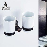 portavasos montado en la pared baño al por mayor-Copa doble portavasos vaso de lujo Europea soporte de cerámica Copas montado en la pared de latón accesorios de baño Decoración para el Hogar 93003
