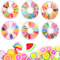 Wholesale fruit polymer clay resale online - 3D Polymer Clay Tiny Fimo Fruit slices Wheel Nail Art DIY Designs Wheel Nail Art Decorations