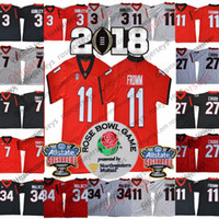 502c341e1 Georgia Bulldogs  11 Jake Fromm 1 Sony Michel 7 DAndre Swift 3 Roquan Smith  Fields Black Red White Rose Bowl Sugar Championship Jerseys