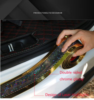 Wholesale chrome trim strips for sale - Group buy Double sided Chrome Glossy Width cm Laser Carbon Fiber Texture Rubber Sticker DIY Decals D Vinyl Door Sill Protector Trim Strip Sticker
