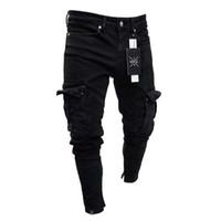 nouveau crayon xxl achat en gros de-Crayon Jeans Pour Hommes Petit Trou Fermeture Éclair Solide Nouvelle Mode Lavé Européen Et Américain À Vent Pantalon Style Décontracté