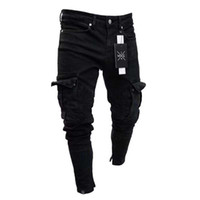 nuevos estilos de pantalones al por mayor-Pantalones vaqueros para hombre con agujero pequeño, cremallera, sólido, nueva moda, lavado, viento europeo y americano, pantalones de estilo casual
