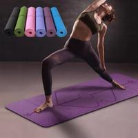 Wholesale yoga for beginners for sale - Group buy 1830 mm TPE Yoga Mat with Position Line Non Slip Carpet Mat For Beginner Environmental Fitness Gymnastics Mats