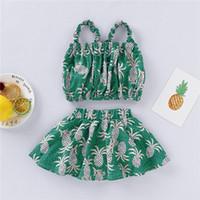aufdeckende kleidung großhandel-Neue Babykleidung Neugeborene Babykleidung Sets Fashion Infant Sommer Ananas Druck Ein Nabel Aufschlussreiche Tops + Röcke 2 stücke Sets Outfits