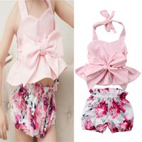 Wholesale cute baby girl clothes summer wear online - Baby Girls Summer Sleeveless Backless Vest Lace Up Tank Shorts Piece Set Floral Printed Bowknot Bow Decor Clothing Set Party Wear A41803