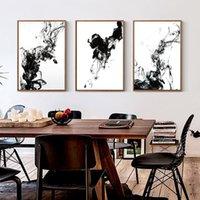 chinesische wanddekor kunst leinwand großhandel-New Chinese Schwarz und Weiß Ink Flüssig Diffusion Trajektorie Leinwand-Malerei-Kunst-abstrakter Druck Poster Bilderwand Home Decor