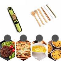 fourches en mousseline achat en gros de-Écologique en bambou Couverts Couverts Voyage Set Portable Bamboo paille de vaisselle avec un chiffon de couteaux Sac fourchette cuillère Chopstick RRA2301