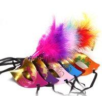 máscaras de mascarada al por mayor-Máscara de plumas Máscara Mascarada Máscara de plástico Color Halloween Show Fiesta de cumpleaños Suministros Juguete Y024