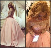 plus größe lange kristalle prom kleid großhandel-2019 New Long Sleeves Kristallapplikationen Satin Blush Pink Sparkly Abendkleider Formal Dress Arabisch Dubai Plus Size Ballkleid Abendkleider