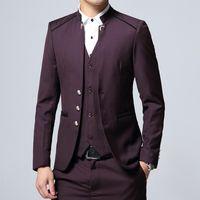 trajes de boda púrpura oscuro para hombre al por mayor-Dark Purple Groom Tuxedos Mandarin Lapel Mens Wedding Tuxedos Fashion Man Jacket Blazer 3 Piece Suit (Jacket + Pants + Vest + Tie) 464