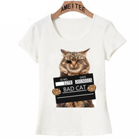 Wholesale punk t shirt designs for sale – custom Ameitee Brand New Fashion Super Cute Cool Punk T shirt Top Tee Bad Cat In The Police PrisonPolyester Funny Design Women T Shirt