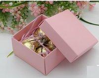 bebek mavi kağıt kutular toptan satış-20 adet 6.5 * 6.5 * 3.8 cm Küçük Hediye Kutuları Pembe Mavi Kırmızı Renk Kağıt Şeker Kutuları Bebek Duş Doğum Günü parti Hediye Paketleme ...
