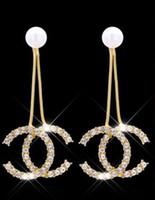 inci küpe dangle küpeler toptan satış-Klasik Marka Tasarımcısı Pearl Drop Dangle Mektuplar Kulak Saplama Klip Çift Katmanlı Küpe Düğün Balo Takı Hediye Accesy3