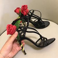 zapatos rosados de la boda del satén al por mayor-2019 Rose Flower Stiletto Heel Wedding Pumps Pink Satin Zapatos de novia Mujeres Tallas grandes Zapatos de vestir