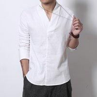 camisa tradicional colar chinês venda por atacado-FAVOCENT Homens camisas de linho manga comprida Estilo Chinês Mandarim Collar tradicional Tang Casual social camiseta roupas de marca