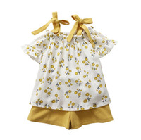 Wholesale girl clothing for sale - Summer girls floral outfits fresh flower kids suspender T shirt shorts clothing set girls casual clothes suit