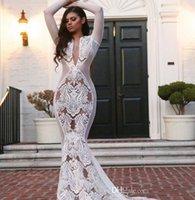 kim kardashian beyaz elbiseler toptan satış-2020 Yousef aljasmi Beyaz Arapça Gelinler Gelinlik Uzun kollu V-Boyun Aplike Mermaid Beyaz kim kardashian Gelinlik