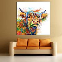 Wholesale cool abstract art paintings resale online - JQHYART Abstract Animal Painting Love To Play Cool Cow Home Decor Picture Wall Pictures For Living Room No Frame Canvas Art