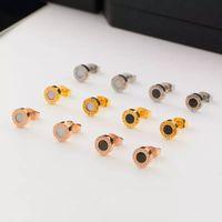 Wholesale earring 6mm resale online - Wide Rose Gold Titanium Steel Shell Hypoallergenic Earrings Couple Fritillary Earrings Diameter MM MM MM Fashion Jewelry Gift