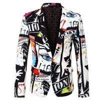 erkekler düğün takımları markaları toptan satış-PYJTRL Marka Gelgit Erkek Moda Baskı Rahat Takım Elbise Artı Boyutu Kalça Sıcak Erkek Slim Fit Suit Erkekler Şarkıcı Düğün Kostüm S18101902