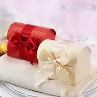 caja del tesoro del favor de la boda al por mayor-Cajas beige del favor Cajas populares del favor del cofre del tesoro de la boda, caja nupcial del chocolate de la ducha 100pcs