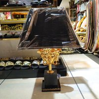 Wholesale metal home decor candle lanterns resale online - Brand Vers Medusa Baroque Designer Decors Article Table Lamp Home Furniture Collection Luxury Interior Palazzo Verde Black Gold Lampshade