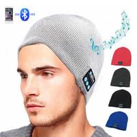 kış kulaklıkları toptan satış-Kablosuz Bluetooth Kulaklık Müzik Şapka Akıllı Kapaklar Kulaklık Kulaklık Sıcak Beanies Kış Şapka Hoparlör Mic Ile Spor RRA1838 Için