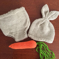 Wholesale crochet diaper hat set for sale - Group buy Newborn Photography Props Bunny Crochet Knitting Costume Set Rabbit Hats and Diaper Beanies and Pants Outfits Accessory
