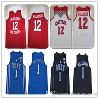 camisetas de baloncesto azul al por mayor-12 Sion Williamson Spartanburg Secundaria Día Azul jerseys del baloncesto Rojo Blanco Negro cosido Duke 1 Williamson Jersey barato