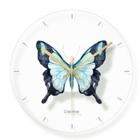 детские часы оптовых-Glass Butterfly Wall Clock For Kids Room Wall Decor Table Decorative Mute Quartz Clocks Nordic St Nursery Home Decoration