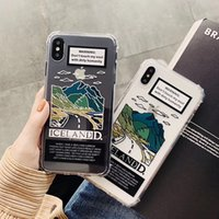 iphone berg großhandel-INS Europa-Landschaftsgebirgsentwurfspaartext-Telefonkasten für iphone Xs MAX Xr Xs 6 6s 7 8 plus klare weiche rückseitige Abdeckung TPU