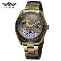 красивые стальные наручные часы оптовых-Т-победитель известный бренд мужские часы с автоподзаводом скелет красивый циферблат качество нержавеющей стали античный наручные часы WRG8152M4T8