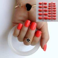 absatznägel großhandel-24pcs Weihnachten neue Mode schöne tief orange Farbe Nagel fertig falsche Nägel kurzer Absatz # 05