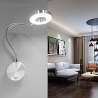 lampes de lecture de chevet menées flexibles achat en gros de-5 W LED Tuyaux Applique Murale Flexible Maison Hôtel Lit Lampe De Lecture Applique Murale Moderne Livre De La Mode Lumières En Aluminium LED Ampoules