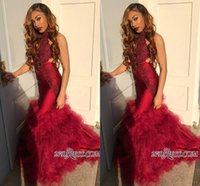 Wholesale yellow cut back prom dress for sale - Group buy Elegant High Neck Halter Tulle Mermaid Prom Dresses Lace Applique Layed Ruffles Cut Away Formal Long Party Evening Gowns BC1562