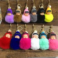 porte-bébé achat en gros de-Mignon Sleeping Baby Doll Keychain Pompon fourrure de lapin boule porte-clés Carabiner Porte-clefs Porte-clés Femmes Enfants Sac Pendentif Anneau RRA2253 clé