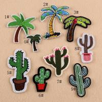 applique eisen kleidung großhandel-8p-41 multicolorl stickerei patches kokospalme eisen auf flecken kaktus abzeichen applique handwerk kleidung zubehör für tuch