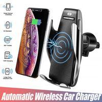 samsung s5 autohalter großhandel-S5 automatisches klemmen drahtloses ladegerät auto halter für iphone xr samsung s10 lüfter halter 360 grad-umdrehung ladehalterung