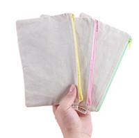 ingrosso sacchetto di chiusura lampo mobile-cerniera di tela bianca Astucci per penna astucci in cotone sacchetti di trucco Borse per il trucco pochette per cellulare