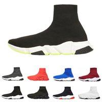 sapatas verdes do brilho venda por atacado-2019 Balenciaga soock sapatos de grife Speed Trainer tênis de luxo top quality preto branco glitter verde moda meias botas respirável runner sapatos casuais