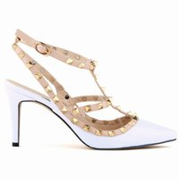 Wholesale pointed toe cross strap for sale - Group buy Hot Rivets Cross Straps Slingbacks Wedding Bridal Shoes bridesmaid wedding guest heels Prom Party Cocktail Pump heels cm size