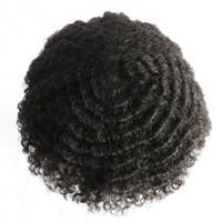 hintli remy dantel peruk kıvırcık toptan satış-Afro Kıvırcık Erkek Peruk Tam Pu Kıvırcık Peruk Erkekler Için 8x10 inç İnce Cilt Hairpieces Değiştirme Sistemleri Hint Remy İnsan Saç Erkek Peruk
