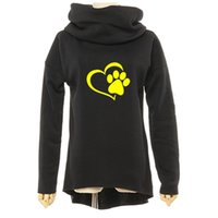 Wholesale gold color print scarves resale online - Animal Cat Dog Women Winter Hoodies Scarf Collar Long Sleeve Fashion Casual Autumn Sweatshirts Rough Pullovers