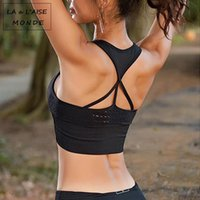 Wholesale women s racerback tank tops resale online - Sexy Ladies Tank Top Strappy Seamless Sports Bra Padded High Impact Sport Underwear Activewear For Women Racerback Exercise