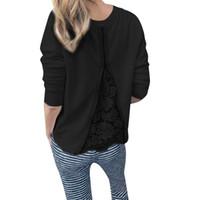 blusa de pulôver de laço de manga comprida venda por atacado-Senhoras Tops Womens O pescoço Long Sleeve Lace Patchwork Sweatshirt Blusa Mulheres T3190605