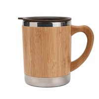 Wholesale bamboo mugs resale online - Logo Customized Stainless Steel Bamboo Color Coffee Mugs With Handle Suit For Office Coffee Mug