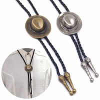 Wholesale vintage necktie resale online - Men Chain Indian Cap Bolo Tie Dance Rodeo Aztec Bolo Tie Vintage Necktie Western Cowboy PU Leather Necklace Adjustable Bola