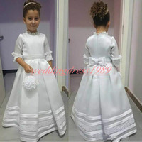 Wholesale images formal shirts for girls for sale - Group buy Beautiful A Line Half Sleeve Satin Girls Pageant Dress Lace Applique Girl Communion Dress Kids Formal Wear Flower Girls Dresses for Wedding